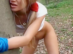 I'm tied to a tree in my kinky amateur blonde video