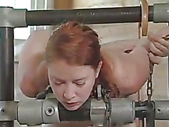 Redhead whore gets an perverted orgasm in Dairy Farm