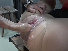 Brutal fisting and dirty cumshot in BDSM room