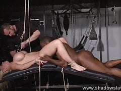 Busty german slave Melanie Moons tounge tied tit torture