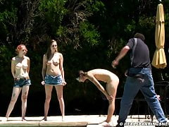 Three girl nude outdoor belt spanking