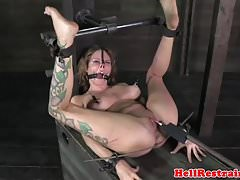 Bigtitted sub bound and toyed as punishment