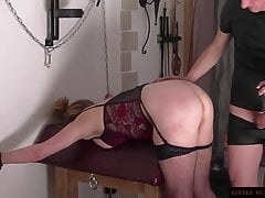 Little Sunshine MILF Doggy Caning with a large Butt Plug