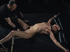 BDSM Teen slave spanked with whip in fetish porn video